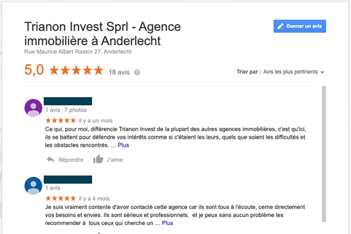 Trianon Invest Google Reviews